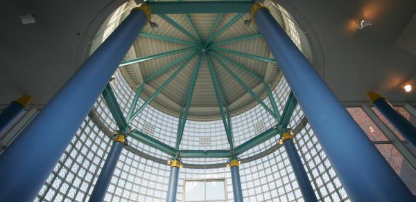 The dome of the library as seen from the main entrance