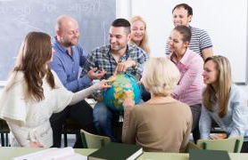 group of students around globe