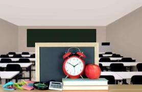 Classroom with alarm clock